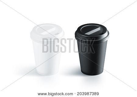 Blank black and white disposable paper cup with plastic lid mockup isolated 3d rendering. Empty polystyrene coffee drinking mug mock up front view. Clear plain tea take away package