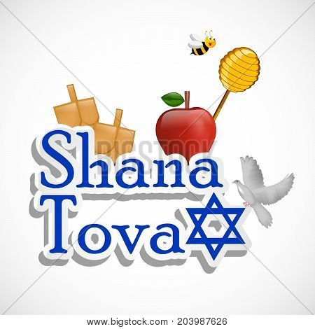 illustration of bee, pigeon, honey, apple and bags with Shana Tova text on the occasion of Jewish New Year Shanah Tovah