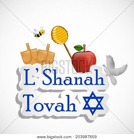 illustration of bee, pigeon, honey, apple and bags with L'Shanah Tovah text on the occasion of Jewish New Year Shanah Tovah