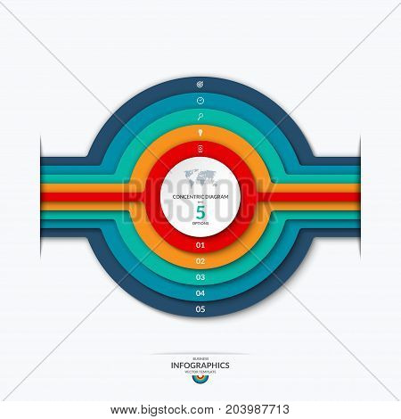 Concentric circles diagram for infographics . Vector banner with 5 options, levels, layers, stages. Can be used for graph, chart, report, data representation, web design
