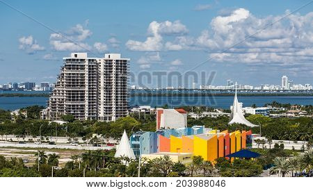 Colorful Miami Florida Architecture at Bayside Waterfront