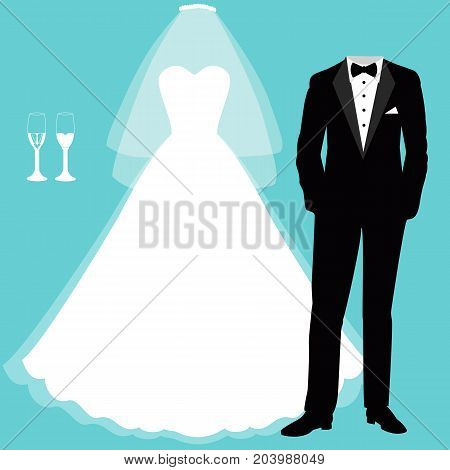 Wedding card with the clothes of the bride and groom. Beautiful wedding dress and tuxedo. Vector illustration.