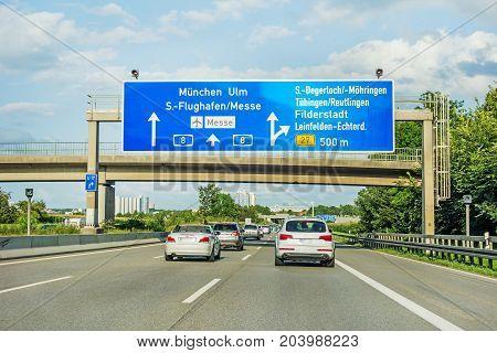 Freeway Road Sign On Autobahn A8, Stuttgart / Munich / Ulm