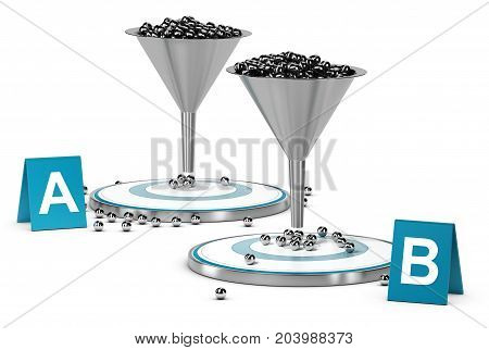 3D illustration of two funnels and targets with letters A and B over white background. Concept of A B testing or split test
