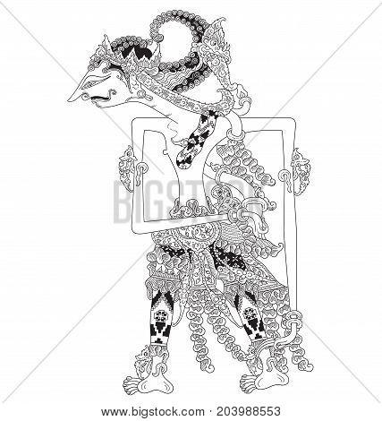 Gunadewa, a character of traditional puppet show, wayang kulit from java indonesia.