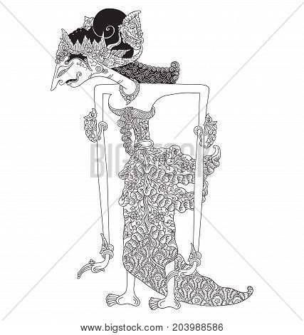 Hagnyanawati, a character of traditional puppet show, wayang kulit from java indonesia.