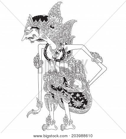Hartadriya, a character of traditional puppet show, wayang kulit from java indonesia.