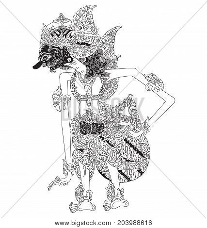 Hasti, a character of traditional puppet show, wayang kulit from java indonesia.