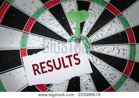 Results note on notepaper with dart arrow and dart board. Marketing advertisement business concept.