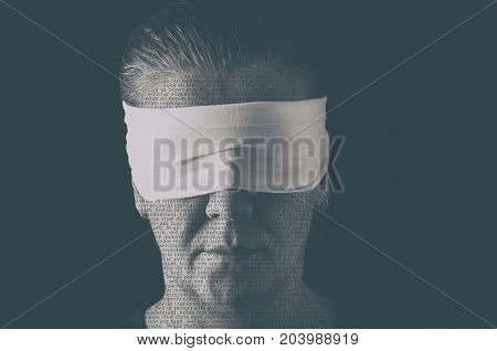 Blindfolded woman close up patterned with no-sense words. Concept of censorship freedom of speech freedom of press.