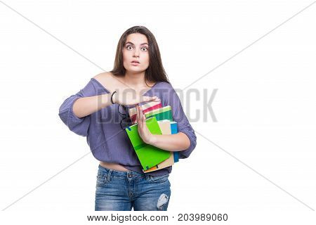 Student With A Lot Of Books Looking Despair