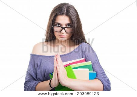 Attractive Student Girl With Lot Of Books Pleading