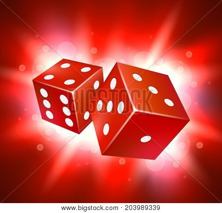 Dice vector design. Two dice casino gambling template concept. Casino background