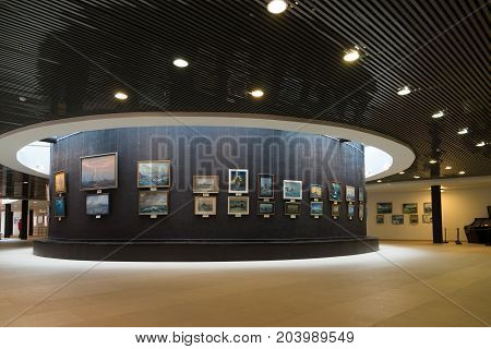St. Petersburg, Russia - June 02. 2017 Exhibition of marine paintings in Naval Museum in Kryukov Barracks