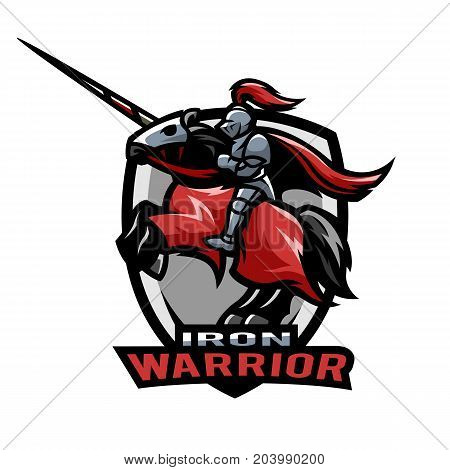 Iron warrior logo. Medieval knight on horseback.