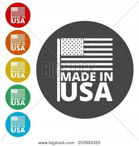USA (American) flag, Made in USA, icons set