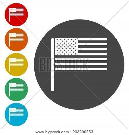 USA (American) flag icons set, simple vector icon