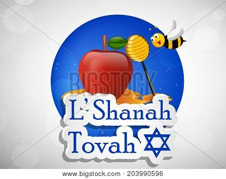 illustration of bee, honey and apple with L' Shanah Tovah text on the occasion of Jewish New Year Shanah Tovah