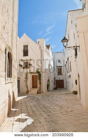 Characteristic alleyway of Locorotondo. Puglia. Southern Italy.