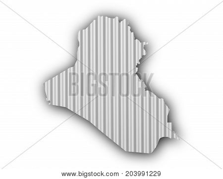Map Of Iraq On Corrugated Iron