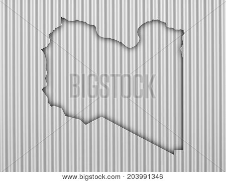 Map Of Libya On Corrugated Iron