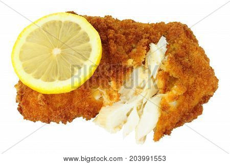 Breadcrumb covered cod fish fillet isolated on a white background