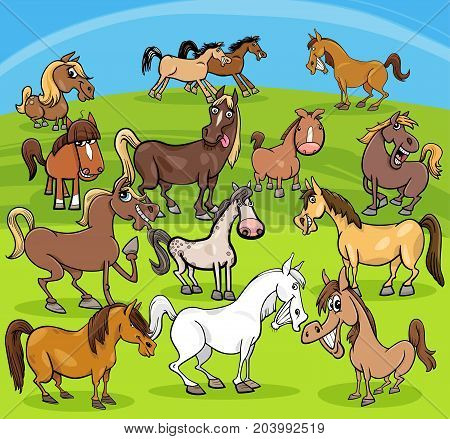 Cartoon Horses Farm Animals Group
