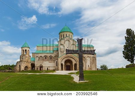 the old restored Gelati temple in Kutaisi Georgia. In 1125, King David the Builder was buried here