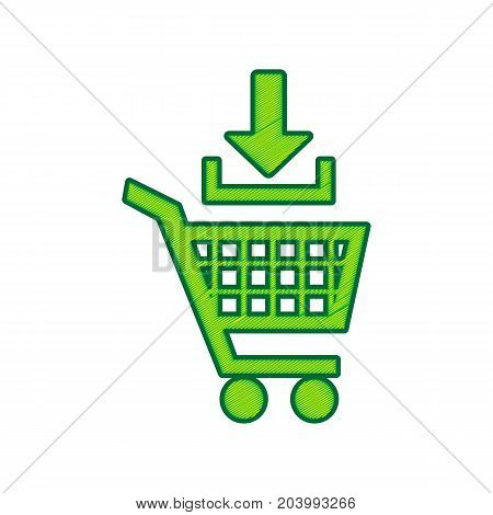 Add to Shopping cart sign. Vector. Lemon scribble icon on white background. Isolated