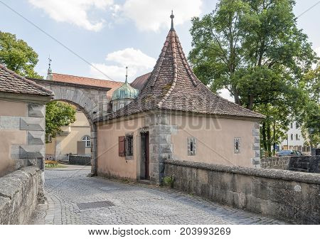 city gate at Rothenburg ob der Tauber a town in Middle Franconia in Bavaria Germany