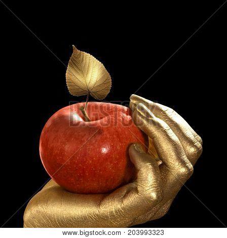 golden feminine hand holding a perfect red apple with golden leaf Studio shot in black back