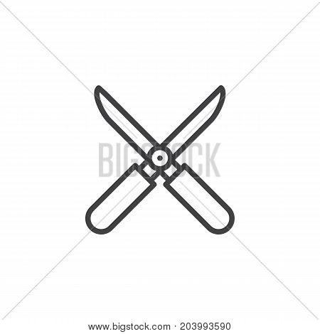 Shears line icon, outline vector sign, linear style pictogram isolated on white. Symbol, logo illustration. Editable stroke