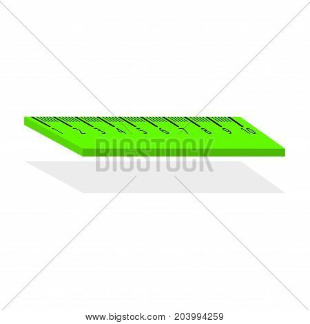 Centimeter ruler sign. Vector. Green gradient icon with shadow at bottom on transparent and white background.