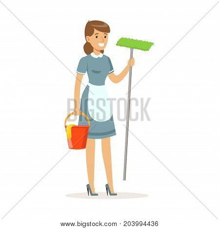 Cheerful maid character wearing uniform standing with bucket and mop, cleaning service of hotel vector Illustration on a white background
