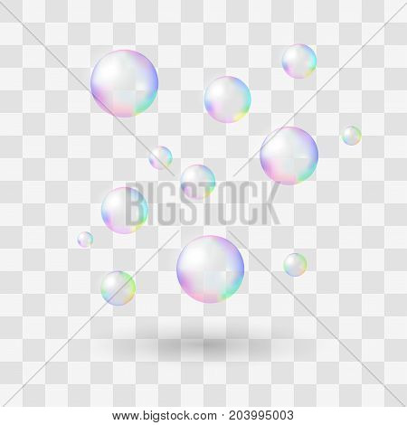 Realistic soap bubbles with rainbow reflection set isolated vector illustration