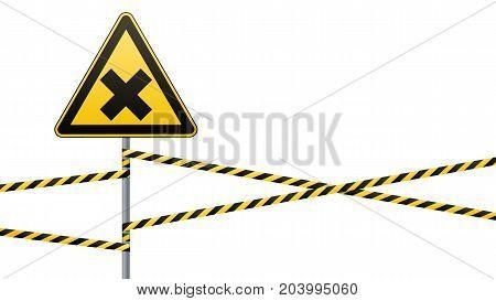 Safety sign. Caution - danger Harmful to health allergic irritant substances. Barrier tape. Vector illustration