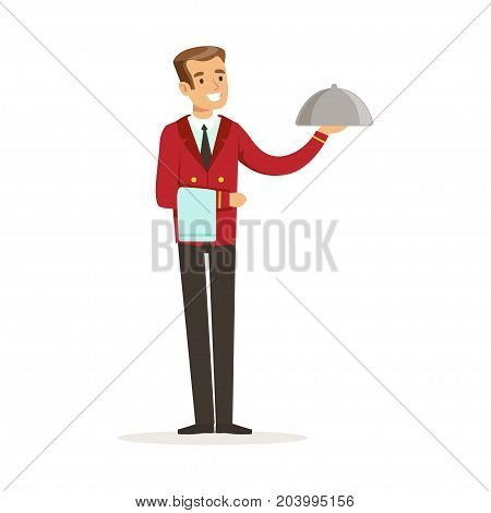 Smiling waiter character serving a meal under a silver cloche, hotel service vector Illustration on a white background