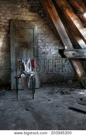 Attic in an abandoned house with mysterious scene