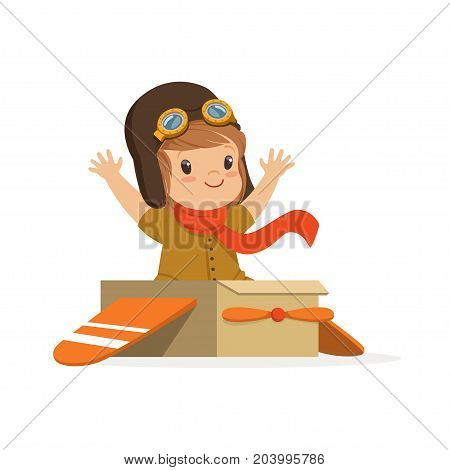 Cute little boy in pilot costume playing, kid dreaming of piloting the plane vector Illustration on a white background