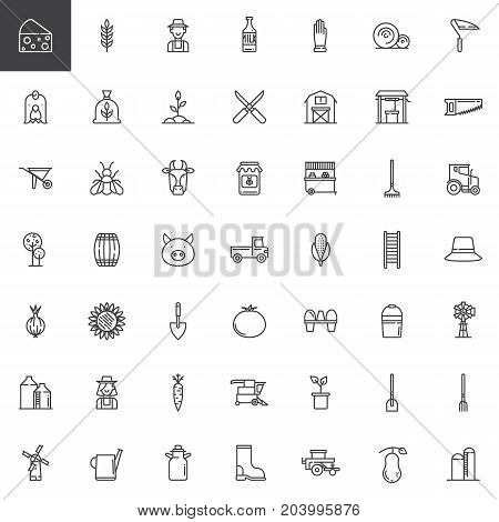 Farming and agriculture line icons set, outline vector symbol collection, linear style pictogram pack. Signs, logo illustration. Set includes icons as agriculture equipment, glove, shovel, rake
