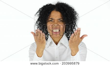Angry Black Woman Yelling isolated on white background