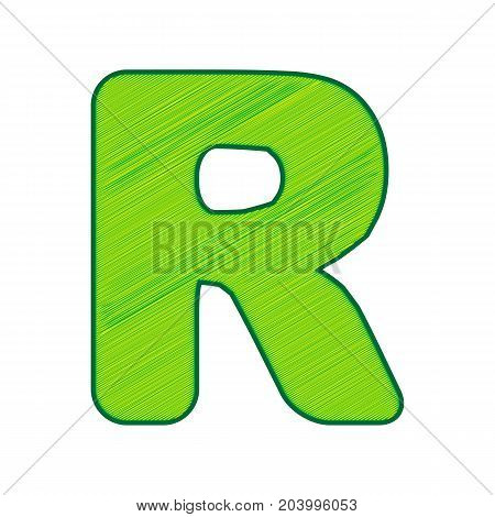 Letter R sign design template element. Vector. Lemon scribble icon on white background. Isolated