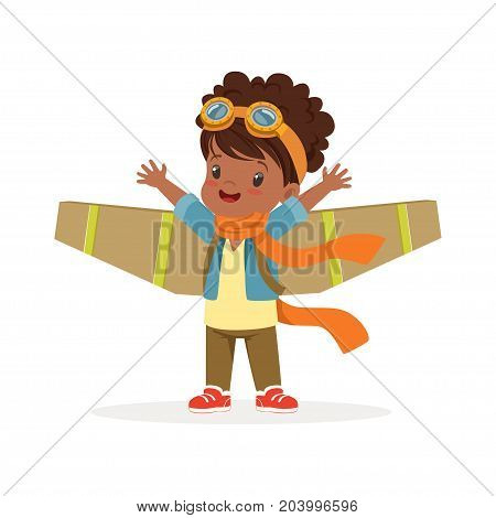 Cute little african girl in pilot costume playing with wings, kid dreaming of piloting the plane vector Illustration on a white background