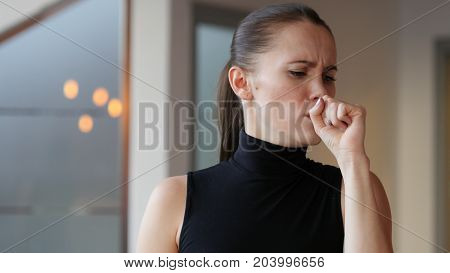Sick Woman Coughing Cough at Work in Office