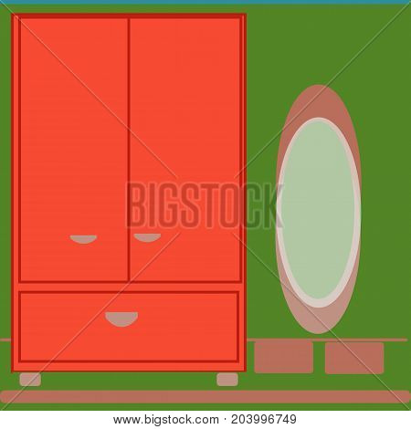 Elegant bookcase, with mirrow flat style isolated on green background.vector