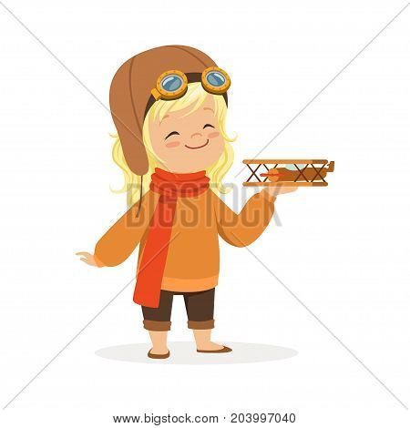 Cute little girl in pilot costume playing with toy plane, kid dreaming of piloting the plane vector Illustration on a white background