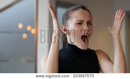 Yelling Woman at Work in Office, Crazy