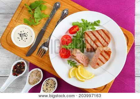 Grilled Tuna Steaks Cut In Pieces
