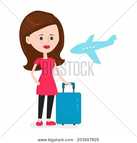 Airplane young happy woman passenger frightened by future flight. Travel around the world concept. Vector modern flat style cartoon character illustration. Isolated on white background. waiting flight