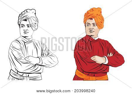 stock Illustration of Swami Vivekananda, Indian spiritual hindu monk and disciple of Ramakrishna Paramhansa